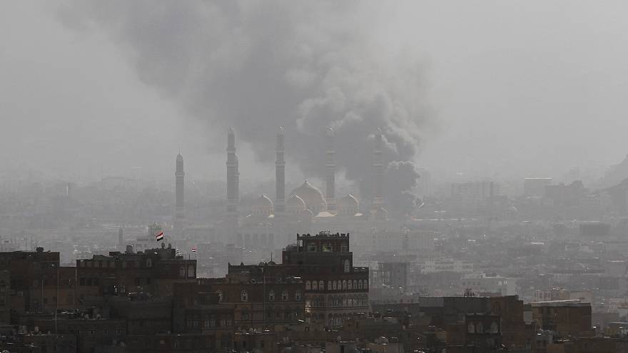 Smoke billowing over Sanaa/Yemen after attacks