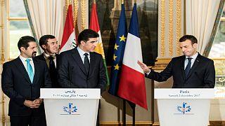 مشکل ترجمه در کنفرانس خبری ماکرون و نخست وزیر کردستان عراق