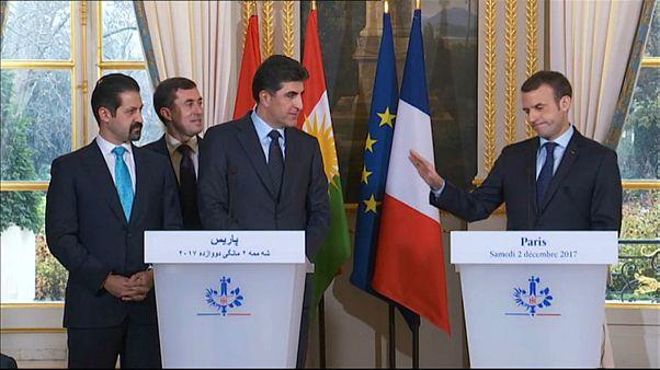 بالفيديو: فوضى في مؤتمر صحفي بين ماكرون ورئيس حكومة كردستان