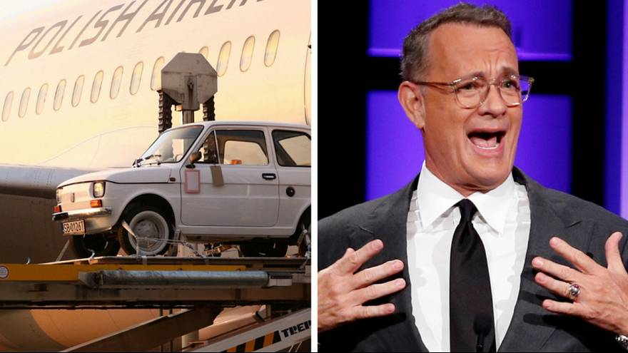 """Tom Hanks receives iconic """"toddler"""" car from Polish fans"""