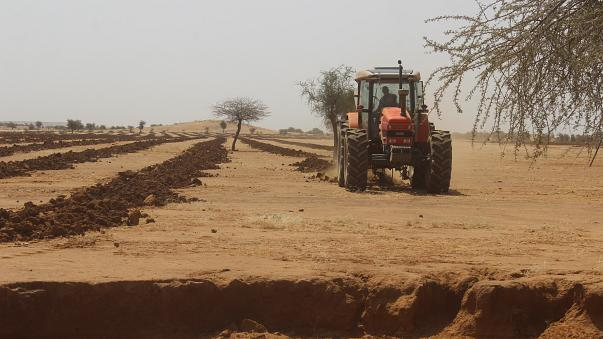 A tractor in Niger prepares the ground