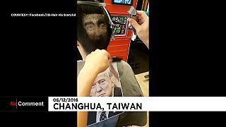 """Hair tattoo"" de Donald Trump en Taiwán"