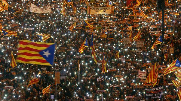Una manifestazione a Barcellona per chiedere la liberazione dei Jordis