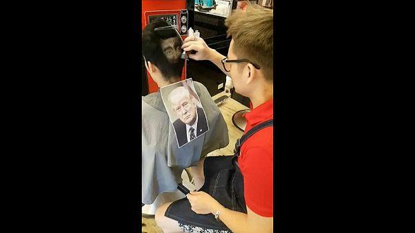 Fejükön hordhatják Trumpot egy tajvani fodrászat vendégei
