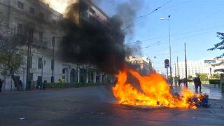 Yunanistan'da anma gösterilerine biber gazlı müdahale