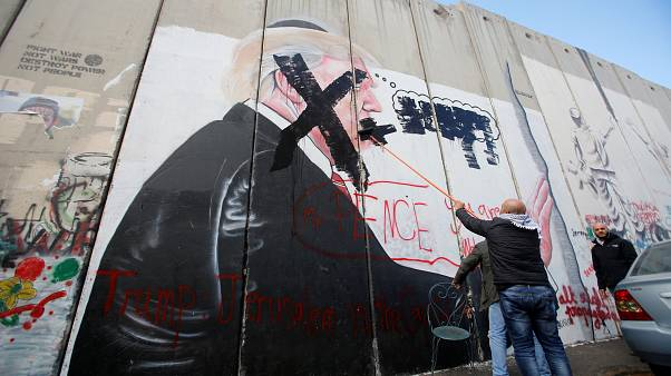 Mural depicting US President Trump in the West Bank city of Bethlehem