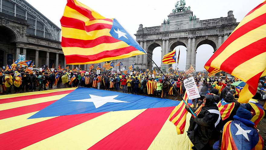 Catalan separatists march in Brussels