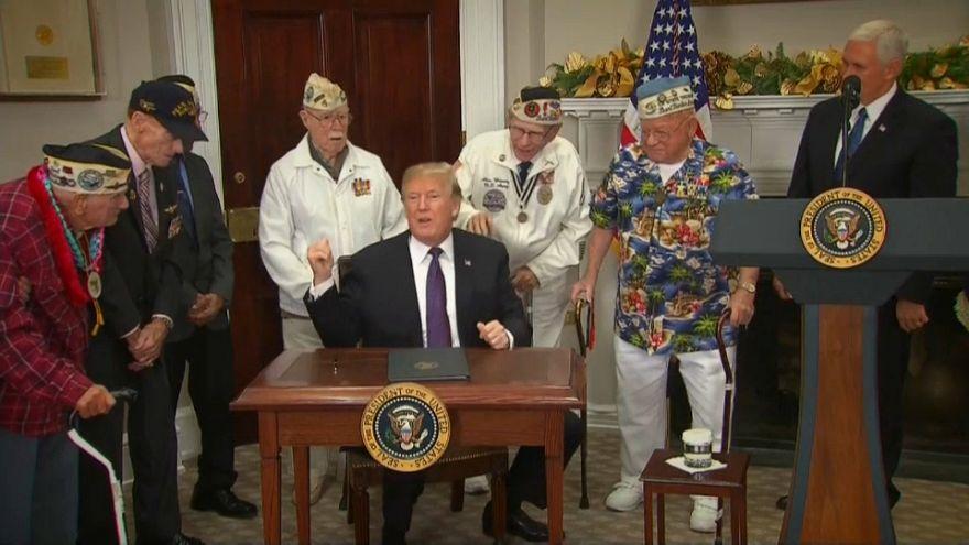 Il presidente Donald Trump incontra i veterani di Pearl Harbour