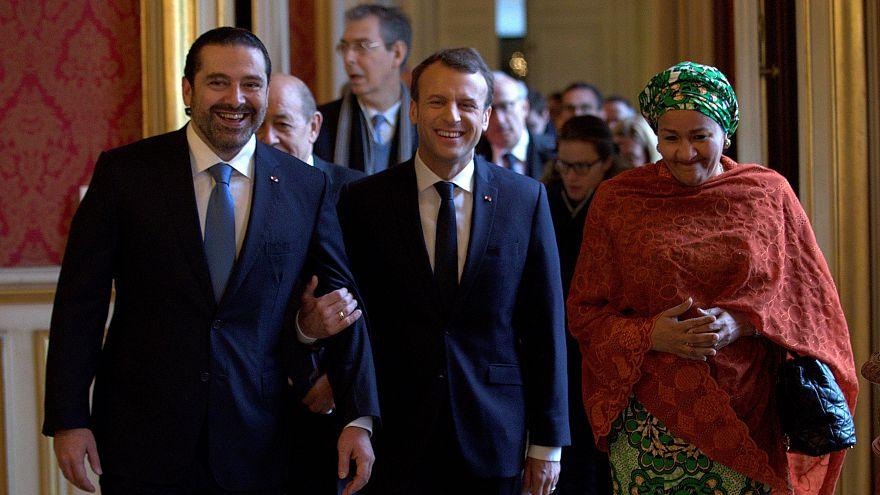 Saad Al-Hariri, Emmanuel Macron und Amina Mohammed in Paris
