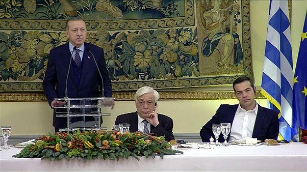 Erdoğan onuruna verilen akşam yemeğinde dostluk mesajları