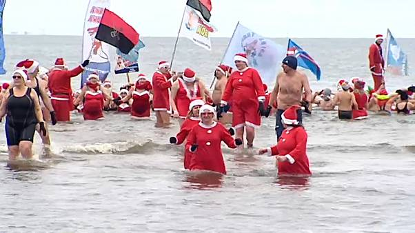 Santa goes for a dip in Poland