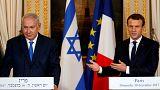Benjamin Netanyahu e emmanuel Macron juntos em Paris