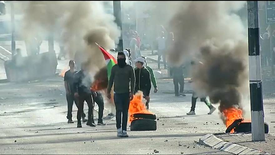 Stone throwing is met with tear gas in Gaza clashes