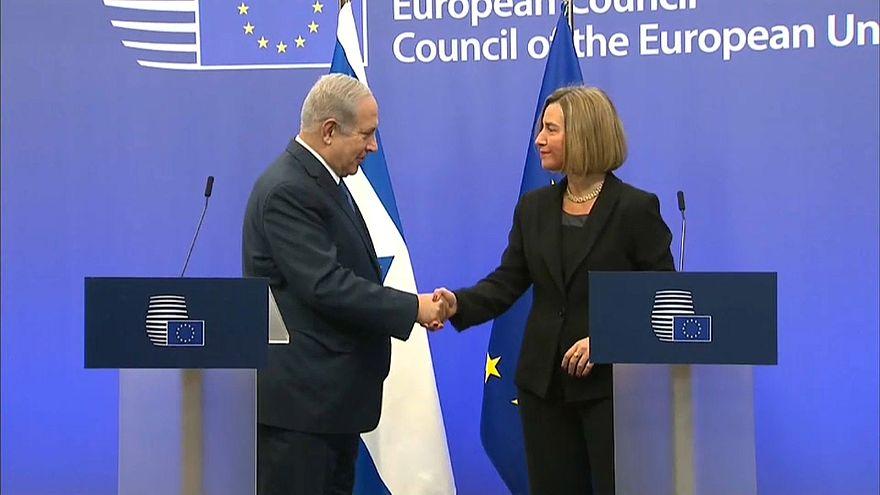 Netanyahu y Federica Mogherini en Bruselas