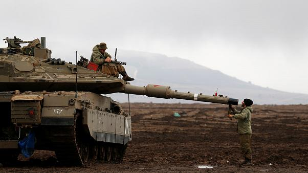 Israeli soldiers in the Golan Heights, close to the Syrian border