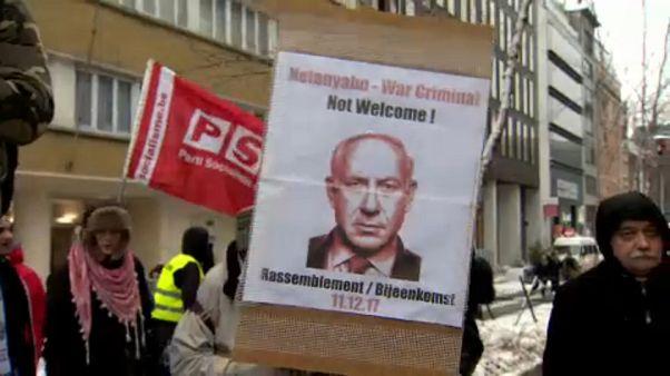 Netenyahu Brüksel'de protesto edildi