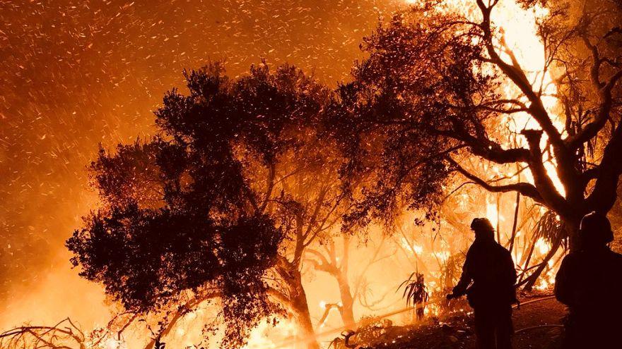 Firefighters in Carpinteria, California, USA, Dec. 10