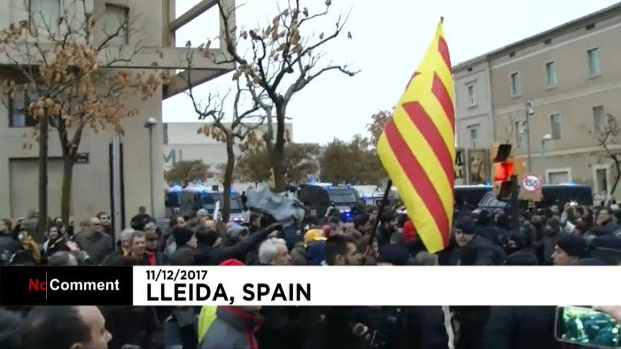 Independentistas protestan por la devolución de las obras de Sijena a Aragón