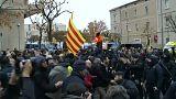 Manifestation devant le musée de Lleida