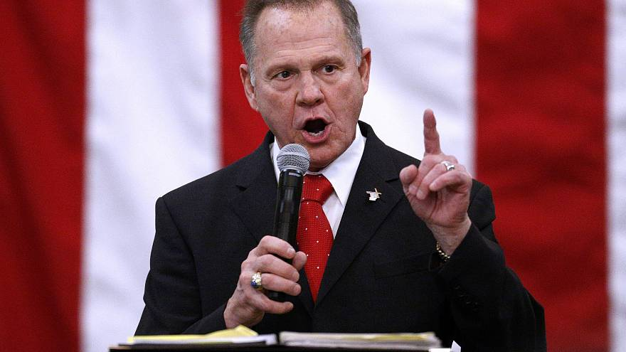Republican Senate candidate Roy Moore addresses a rally in Midland
