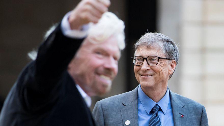 Richard Branson (au premier plan) et Bill Gates à l'Elysée