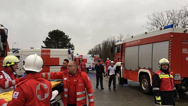 scene after gas-explosion austria
