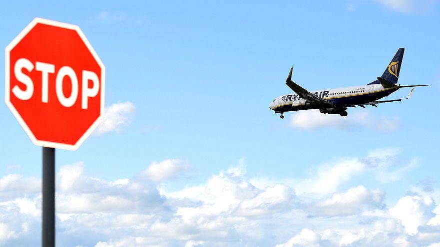 A Ryanair aeroplane prepares to land at Dublin airport in Dublin, Ireland,