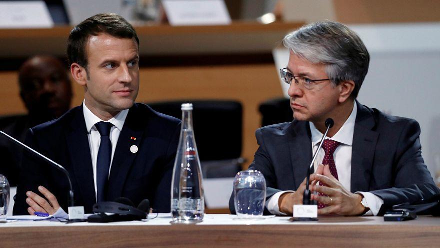 Emmanuel Macron francia elnök és a BNP Paribas bank vezérigazgatója