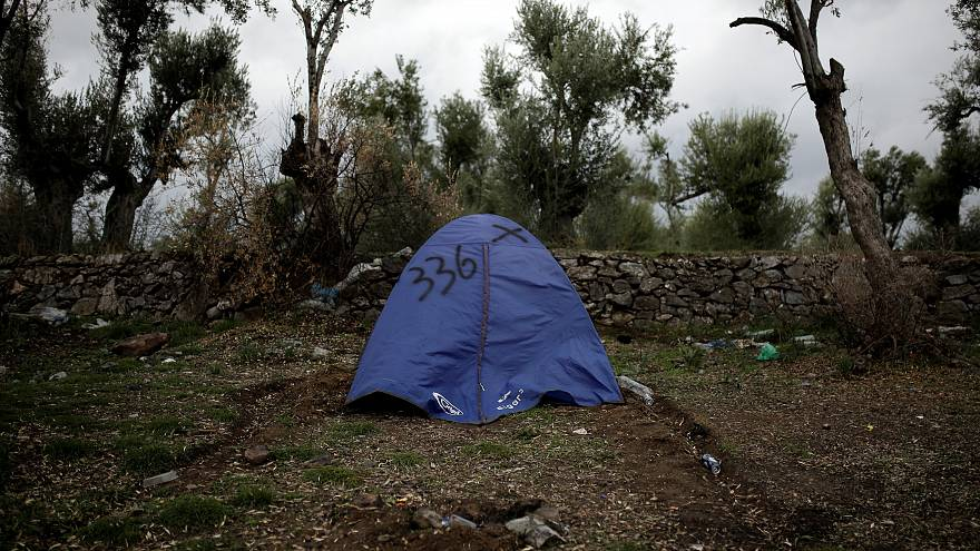 A tent belonging to a Syrian refugee in Greece