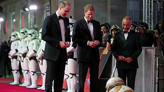 Britain's Prince William and Prince Harry join Hollywood stars at Star Wars premier in London