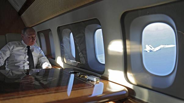 Vladimir Putin on board his presidential aircraft