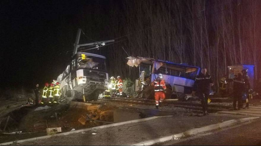 Four teenagers dead after train collides with school bus in France