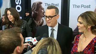 Tom Hanks Steven Spielberg új filmje, a Pentagon titkai bemutatóján.