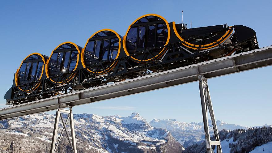 The barrel-shaped carriages of a new funicular line
