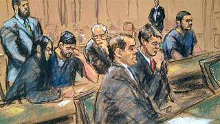 Dibujo que muestra a los sobrinos de Nicolás Maduro durante el juicio