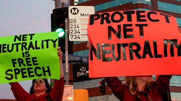 Supporter of Net Neutrality Ginger Gibson (L) of Valley Glen, California