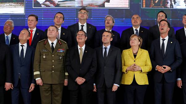 EU leaders take part in a group photo on the launching of the Permanent Str