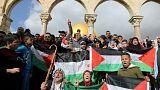 """كتظاهرون فلسطينيون بعد صلاة الجمعة في المسجد الأقصى في """"يوم الغضب"""""""