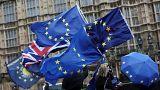 Anti-Brexit demonstrators protest outside UK parliament