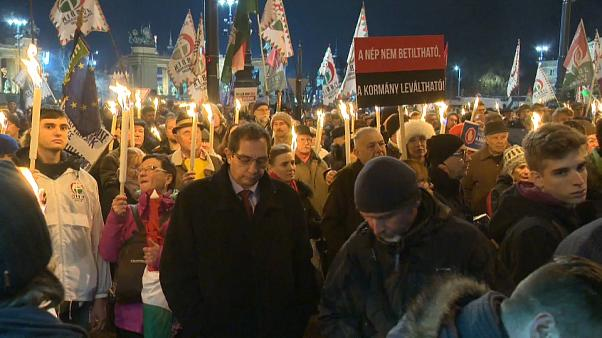 Hungarian opposition parties protest against crackdown