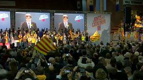 Catalonia election: Puigdemont addresses separatist supporters via satellite