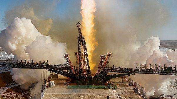 A Szojuz MSZ-07 típusú űrhajó kilövése a kazahsztáni Bajkonurból