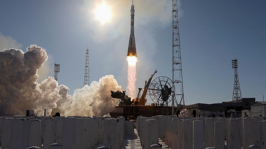 The Soyuz MS-07 spacecraft takes off from the Baikonur Cosmodrome