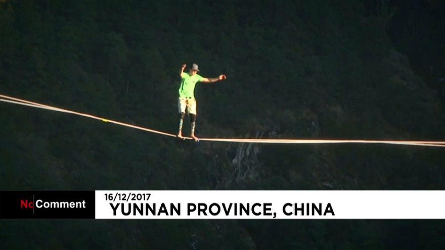 Neuer Weltrekord im blinden Slacklinen