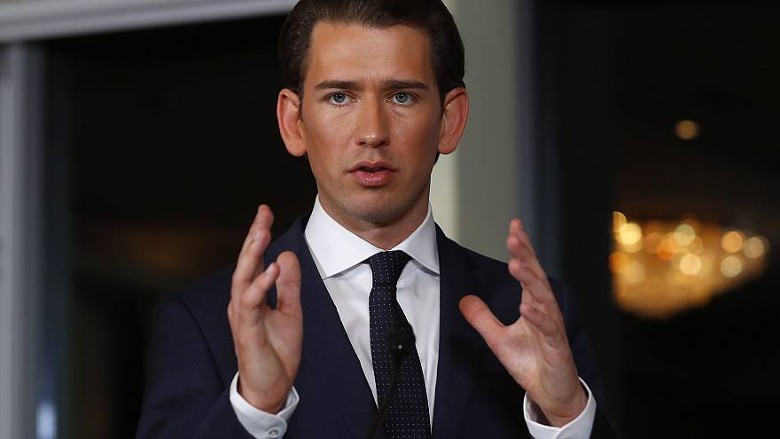 Head of the People's Party (OeVP) Sebastian Kurz addresses a news conferenc