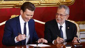 ÖVP und FPÖ: Angelobung der neuen türkis-blauen Regierung in Österreich
