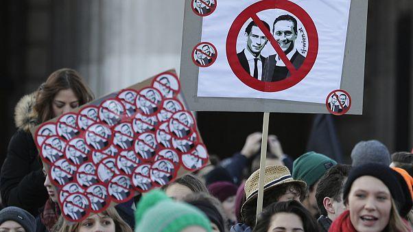 Manifestation contre le nouveau gouvernement autrichien