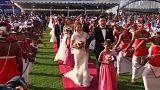 Sri Lanka'da 50 Çinli çiftin toplu düğün töreni