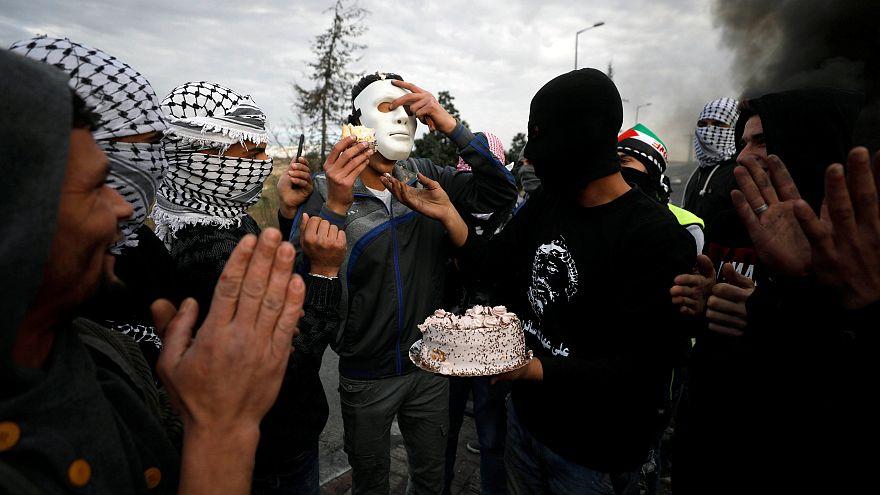 Palästinensische Demonstranten nahe der Siedlung Beit El
