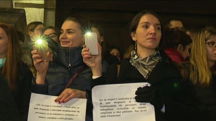 Romanya'da protesto sırası yargıçların